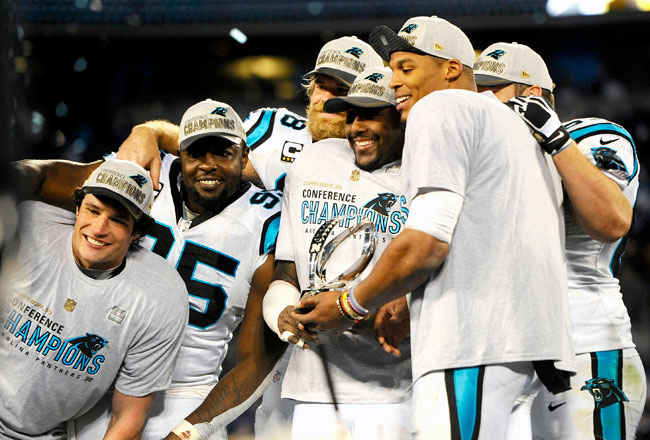 Thomas Davis, Cam Newton and the Panthers celebrate their NFC Championship Game victory.