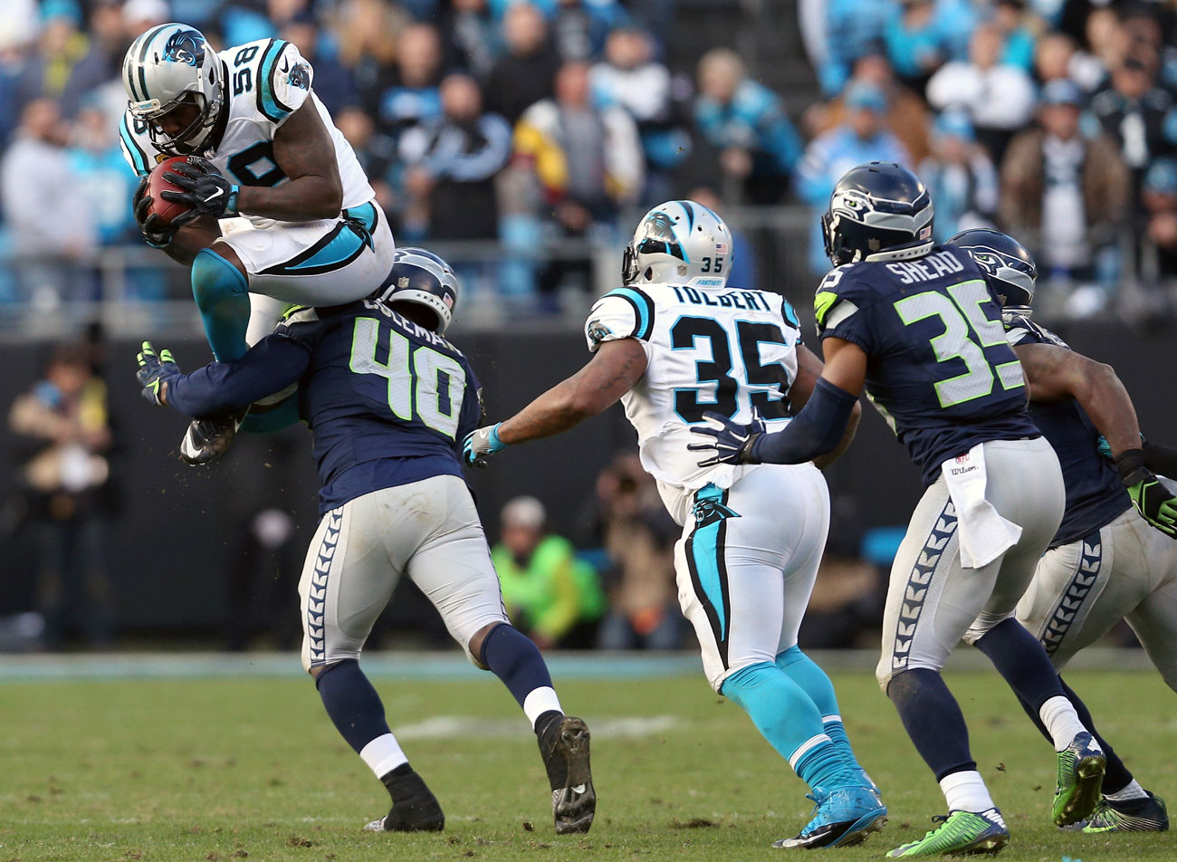 After three knee surgeries, veteran linebacker Thomas Davis still had the hops to leap and recover the onside kick in the Panthers-Seahawks divisonal-round game.