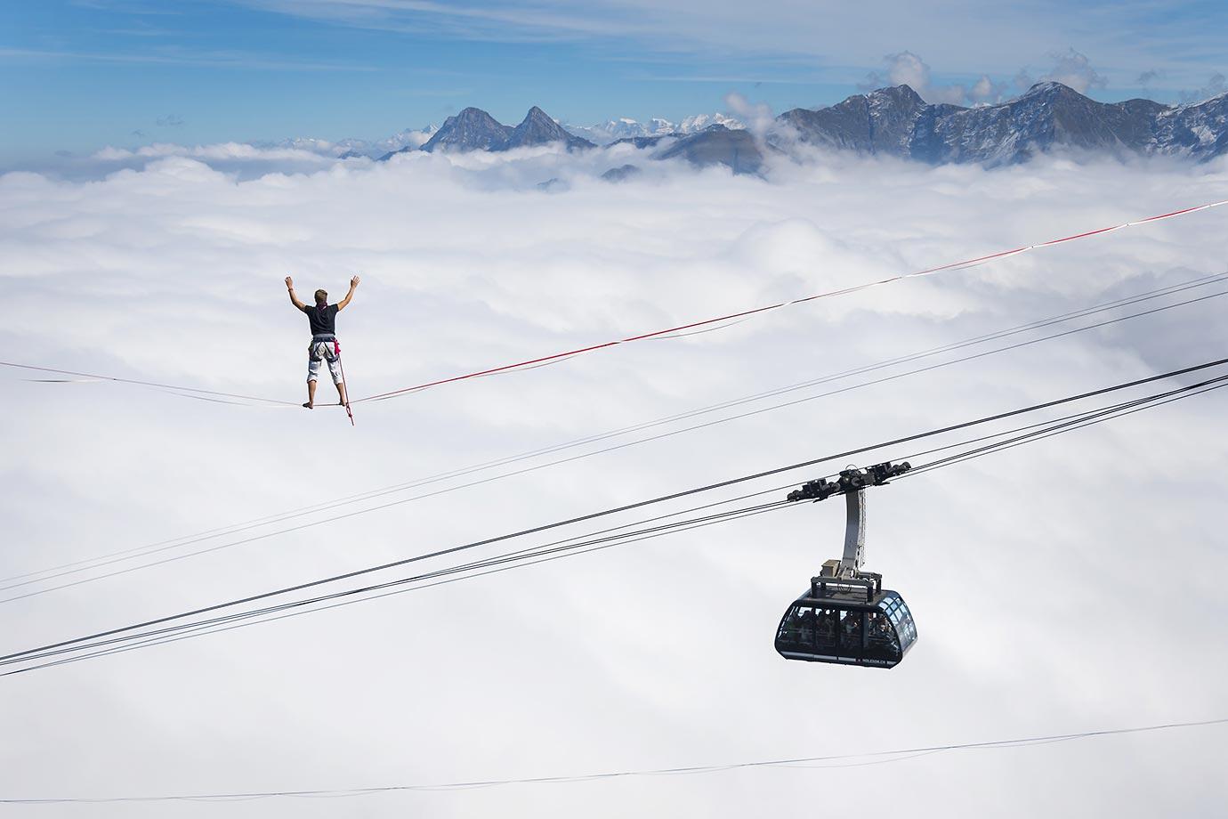 Quirin Herterich walks the line at the Highline Extreme event in western Switzerland.