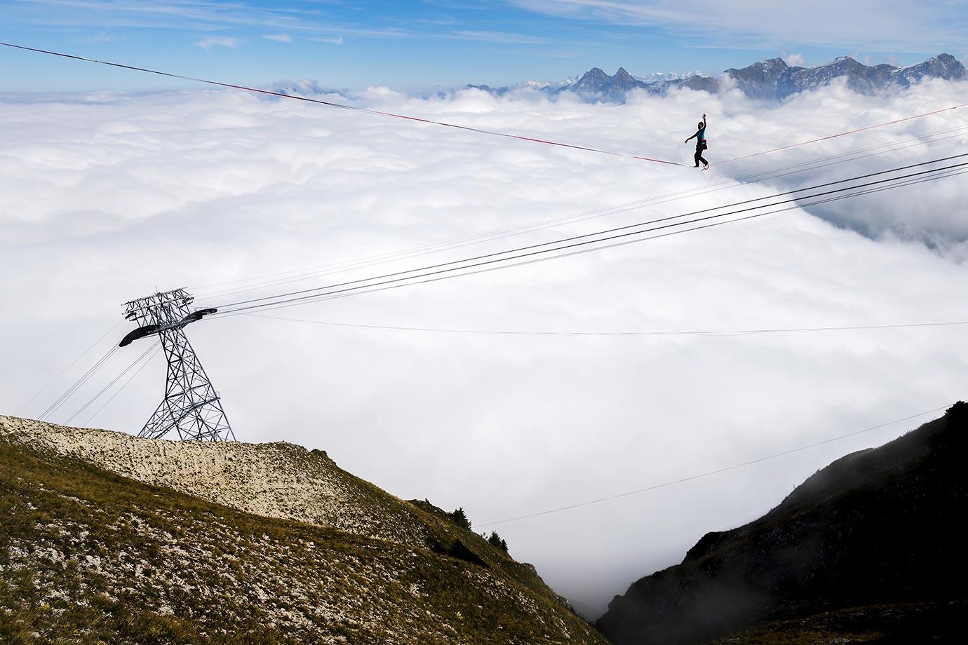 Nicolas Rebert walks on the line during the Highline Extreme event in Moleson Peak, western Switzerland.