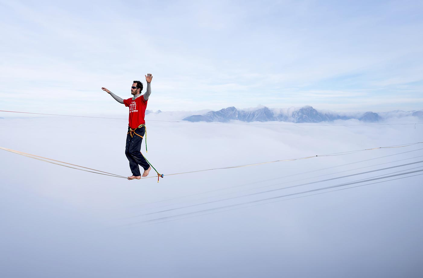 Guillaume Rolland at the Highline Extreme event in Moleson Peak, western Switzerland. Fifty of the European best slackliners compete until Sept. 27, 2015, on six different lines ranging from 45 meters to 495 meters.
