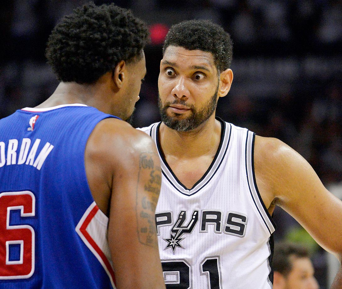 Tim Duncan makes a face at DeAndre Jordan of the Clippers during Game 6 of their first-round playoff series.