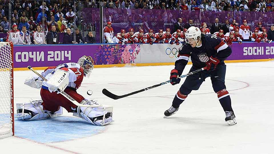 "One of the last additions to the American roster, the St. Louis Blues forward turned in one of the most clutch performances in hockey history. Six times, Oshie was sent to center ice with a thrilling game between Team USA and Russia on the line. And four times he lit the lamp behind Sergei Bobrovsky, the NHL's 2013 Vezina Trophy winner, including that final dagger through the five-hole in the eighth round of the shootout to seal a 3-2 win. ""I've never seen anything like it,"" said teammate Ryan McDonagh. ""That was amazing."""