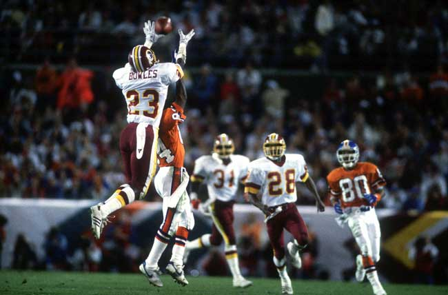 Todd Bowles breaks up a pass in Super Bowl XXII in January 1988. His Washington team beat the Broncos, 41-10.