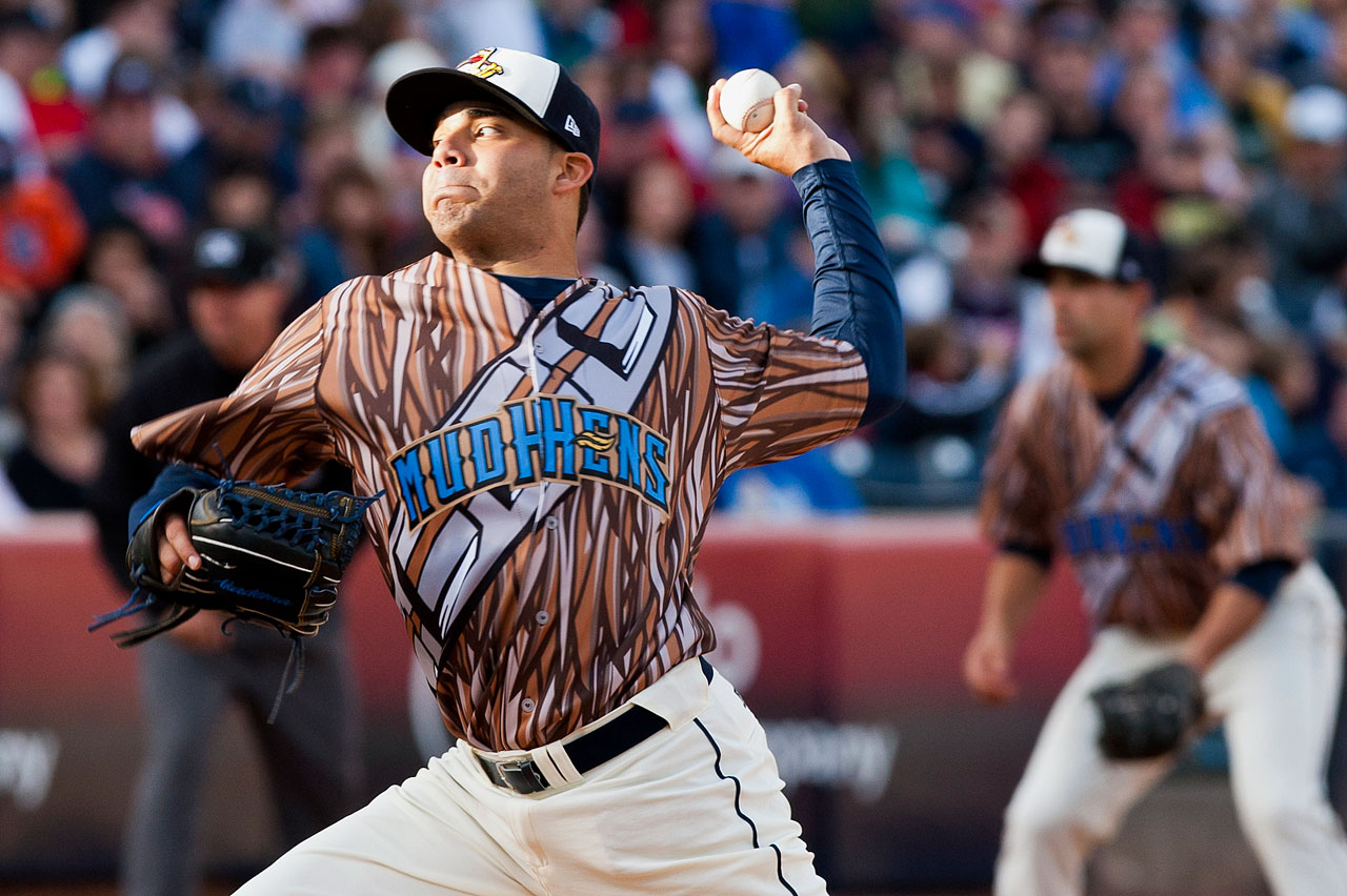 Toledo Mud Hens pitcher Jose Alvarez, wearing his Star Wars Chewbacca-themed jersey, delivers a pitch during a Triple-A International League minor league game against the Charlotte Knights on May 4, 2013 at Fifth Third Field in Toledo, Ohio.