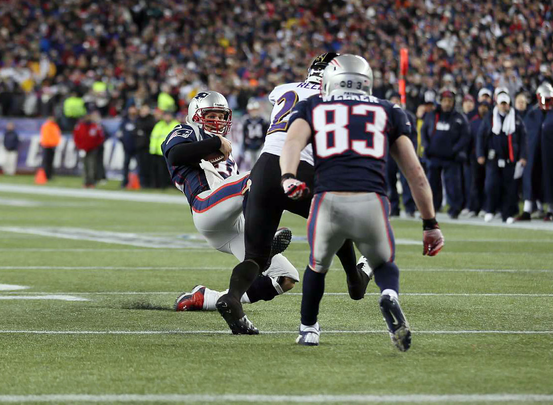 "Tom Brady drew a $10,000 fine for a cleats up slide late in the first half of the 2013 AFC Championship Game. Brady slid to avoid a hit from Ravens safety Ed Reed with his right foot high and cleats exposed to Reed, almost like a baseball player breaking up a double play. ""You've got to keep the legs down,"" said Ravens safety Bernard Pollard. ""We all know and understand what's going on there. When you come sliding, and your leg is up in the air trying to kick somebody, that's bull crap."""