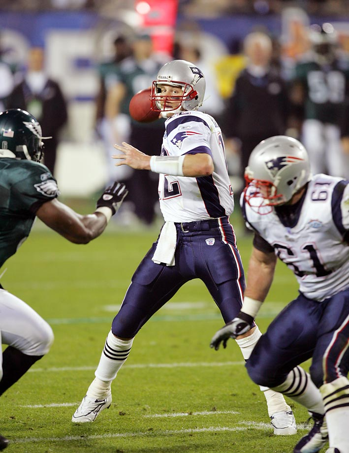 New England Patriots quarterback Tom Brady in action vs. the Philadelphia Eagles in 2005 at Super Bowl XXXIX.