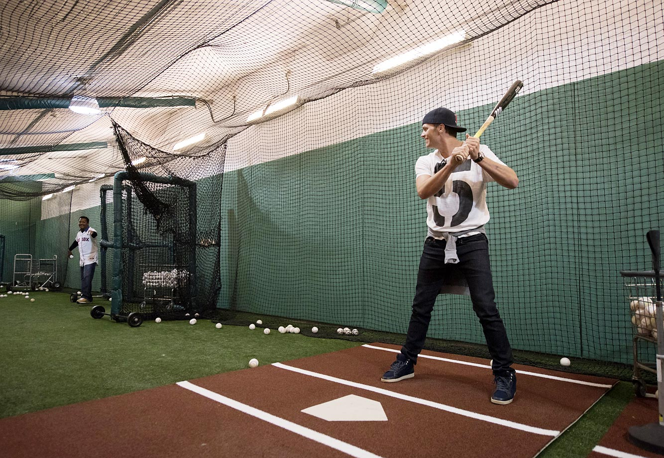 Tom Brady takes batting practice with Pedro Martinez on Opening Day at Fenway.