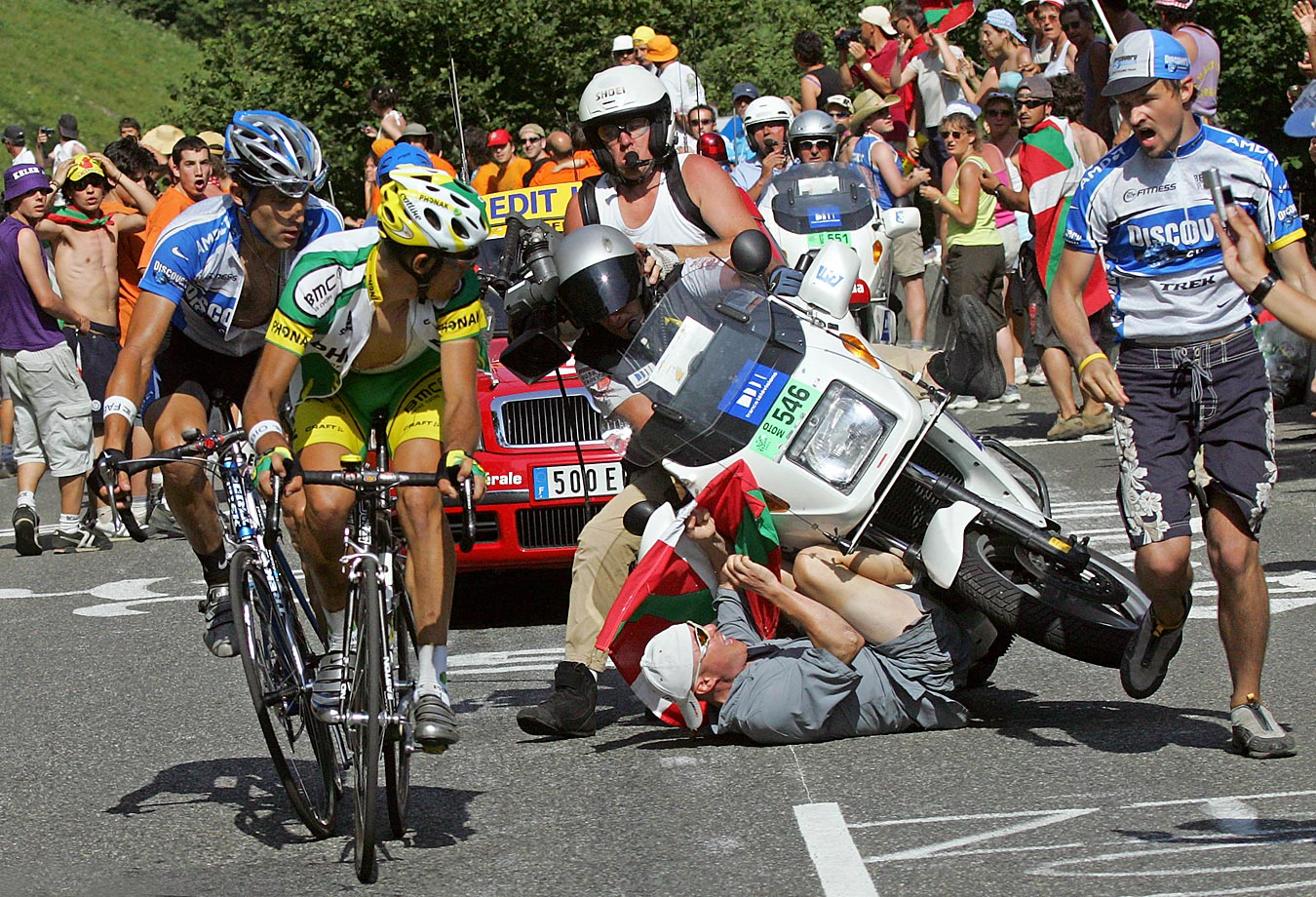 As George Hincapie dueled with Oscar Pereiro up the slopes of a Pyrenean peak called the Pla d'Adet – Lance's lieutenant won this 15th stage of the '05 Tour, but was stripped of the victory for doping – a fan got too close, and was run over by a motorcycle. The marvel is that it doesn't happen more often.