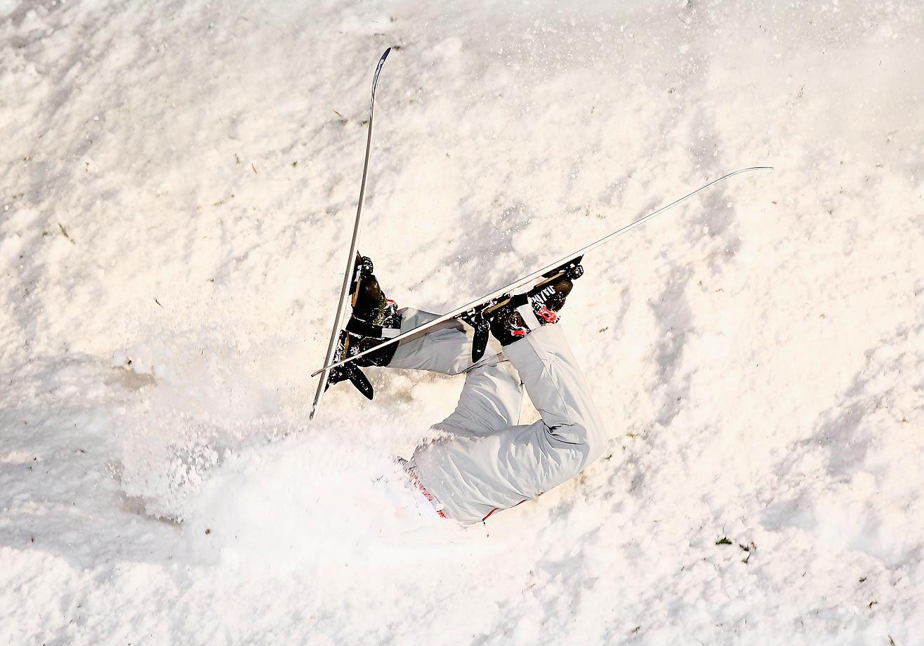 Travis Gerrits of Canada crashes during the Aerials Final of the FIS Freestyle Ski and Snowboard World Championship in Austria.