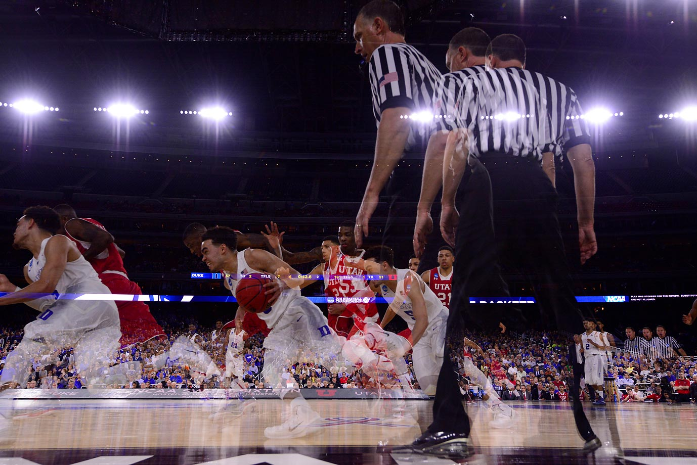 Multiple exposure photo of UCLA playing Gonzaga in round four of the NCAA tournament.