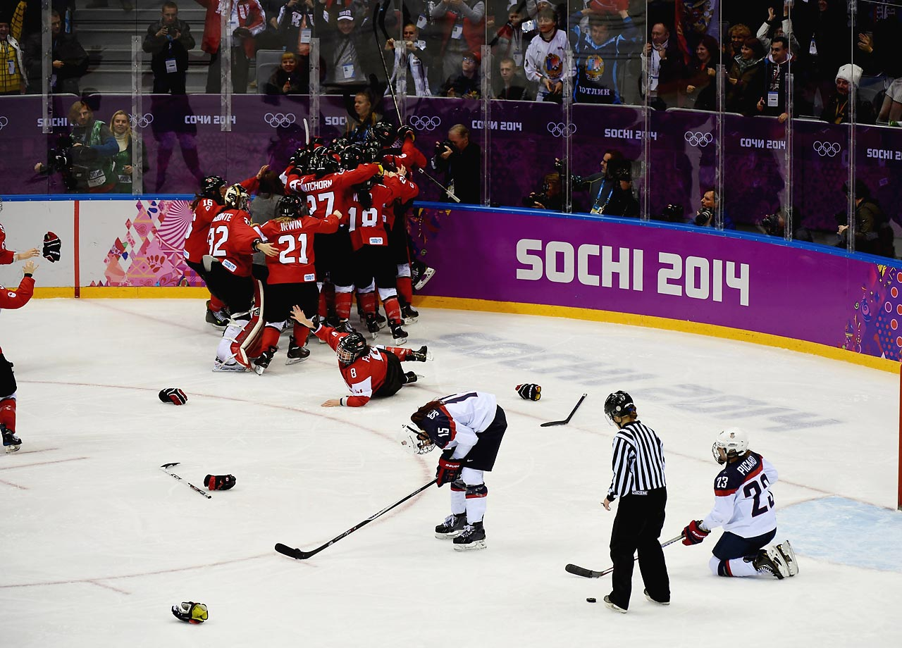 The foregone conclusion entering the 2014 Sochi Games was that the American women ice hockey team had only one serious foe: Canada. Unfortunately for the United States, Canada was a top-notch opponent, having won the last two Olympic gold medals. But in this year's gold medal game between the Americans and Canadians, it appeared the United States had the upper hand. With fewer than four minutes left, the Americans held a 2-0 lead over the favored Canadians. But Brianne Jenner soon scored to cut the deficit in half, and then Marie-Philip Poulin scored with 55 seconds remaining to tie the game. In overtime, Poulin finished the job, scoring again to give Canada a 3-2 victory and the gold medal.
