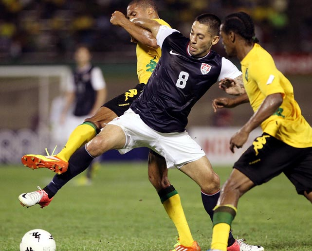 Clint Dempsey jockeys with Jamaican players in a game which he scored the USA's lone goal in a disappointing 2-1 loss on Sept. 7, 2012, in Kingston, Jamaica.