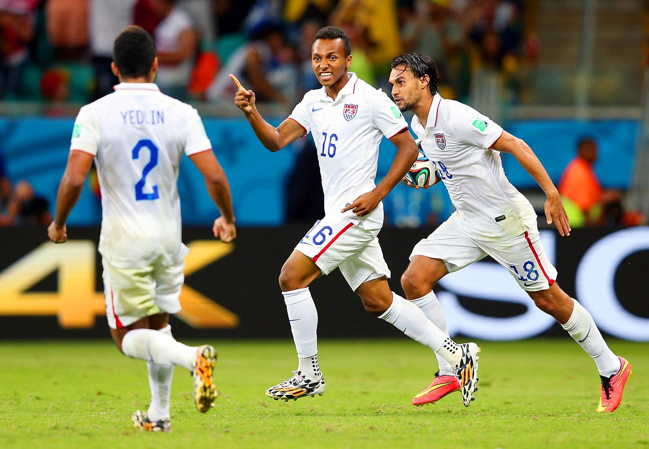 U.S. substitute Julian Green (#16) celebrates his extra time goal that made the score Belgium 2-1 United States.  Unfortunately the U.S. couldn't capitalize on the momentum Green's goal created and eventually lost the game.