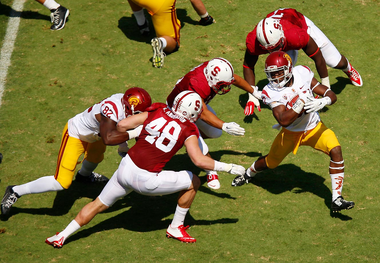 Javorius Allen escapes Stanford's defense on this run.  USC won 13-10.