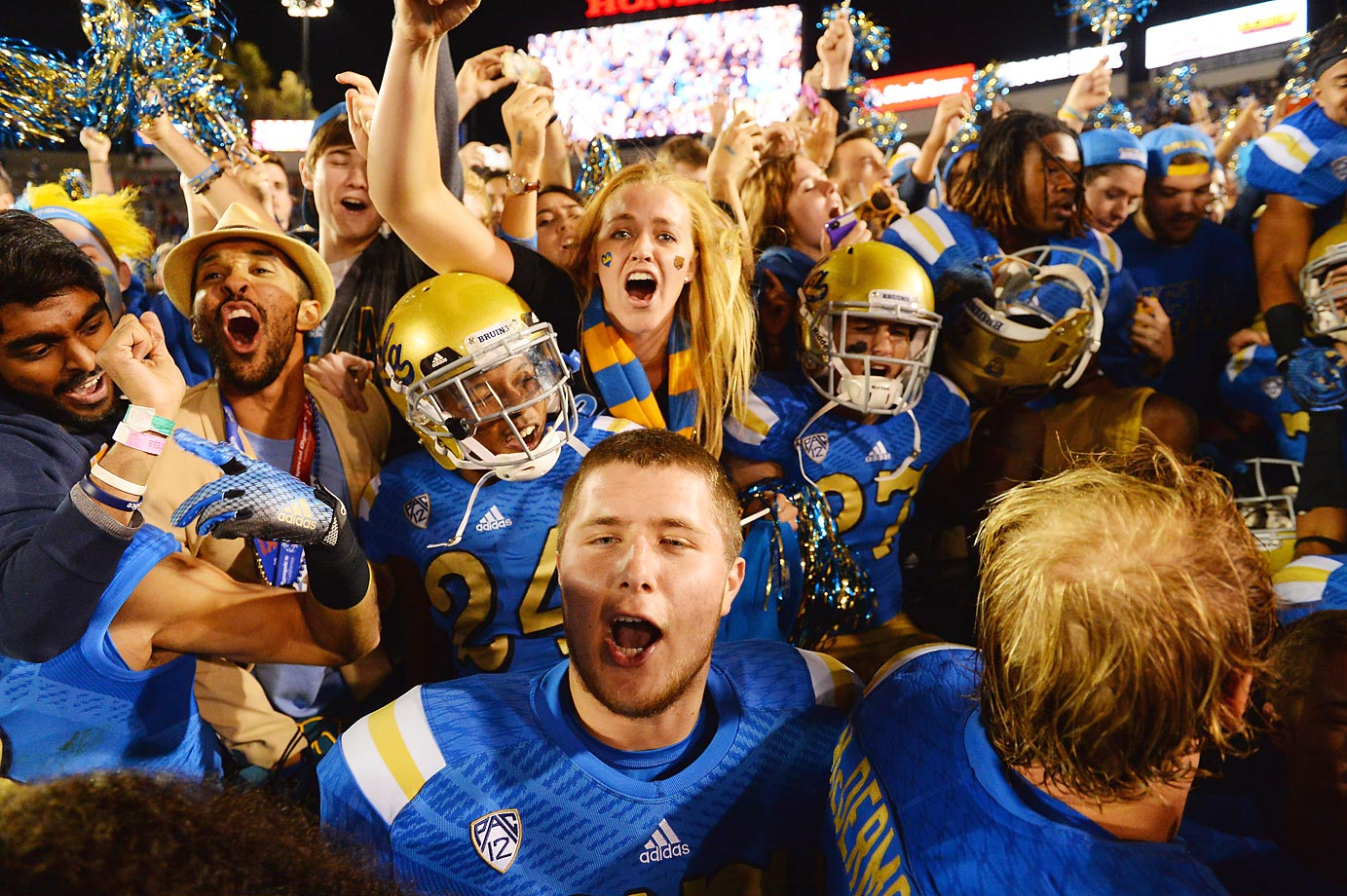 Fans and players after UCLA defeated USC last weekend.