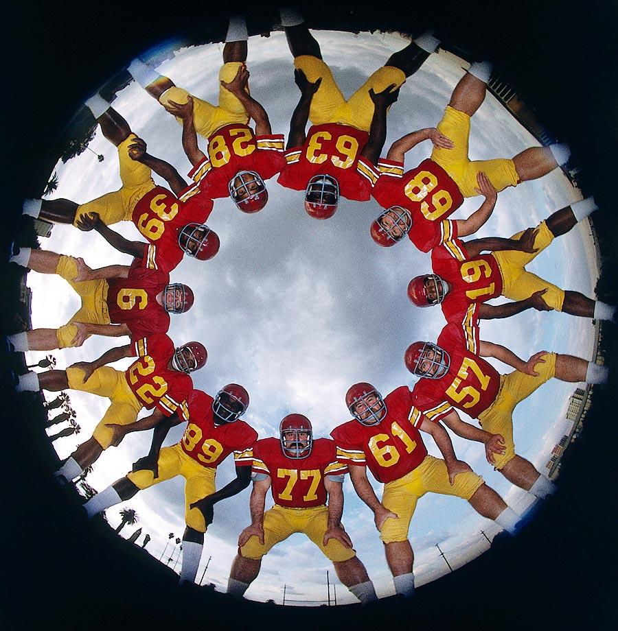 (clockwise from bottom) Pete Adams (77), Charles Young (89), Lynn Swann (22), QB Mike Rae (6), Samuel Cunningham (39), Anthony Davis (28), Booker Brown (63), Mike Ryan (68), Edesel Garrison (19), Dave Brown (57), and Allan Graf (61).