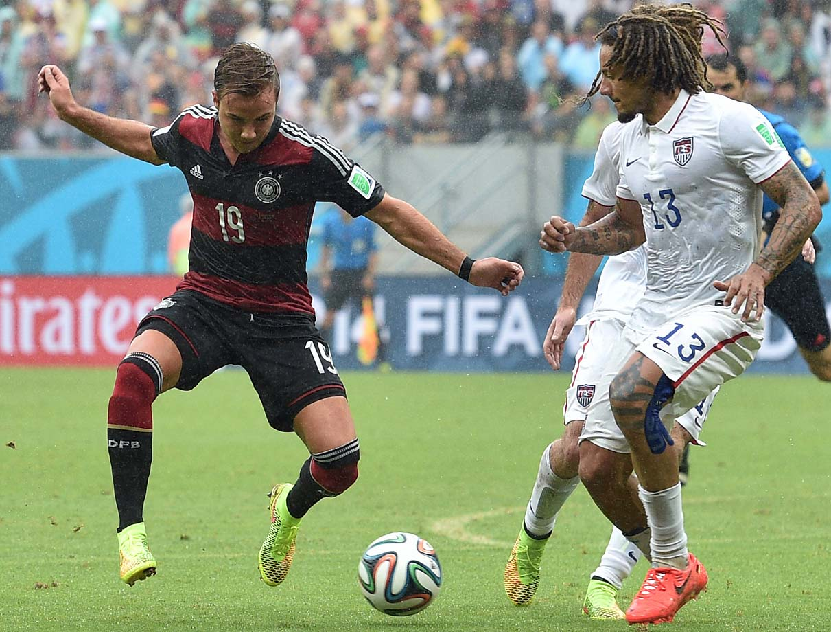 Jermaine Jones defends against second-half substitute Mario Goetze.