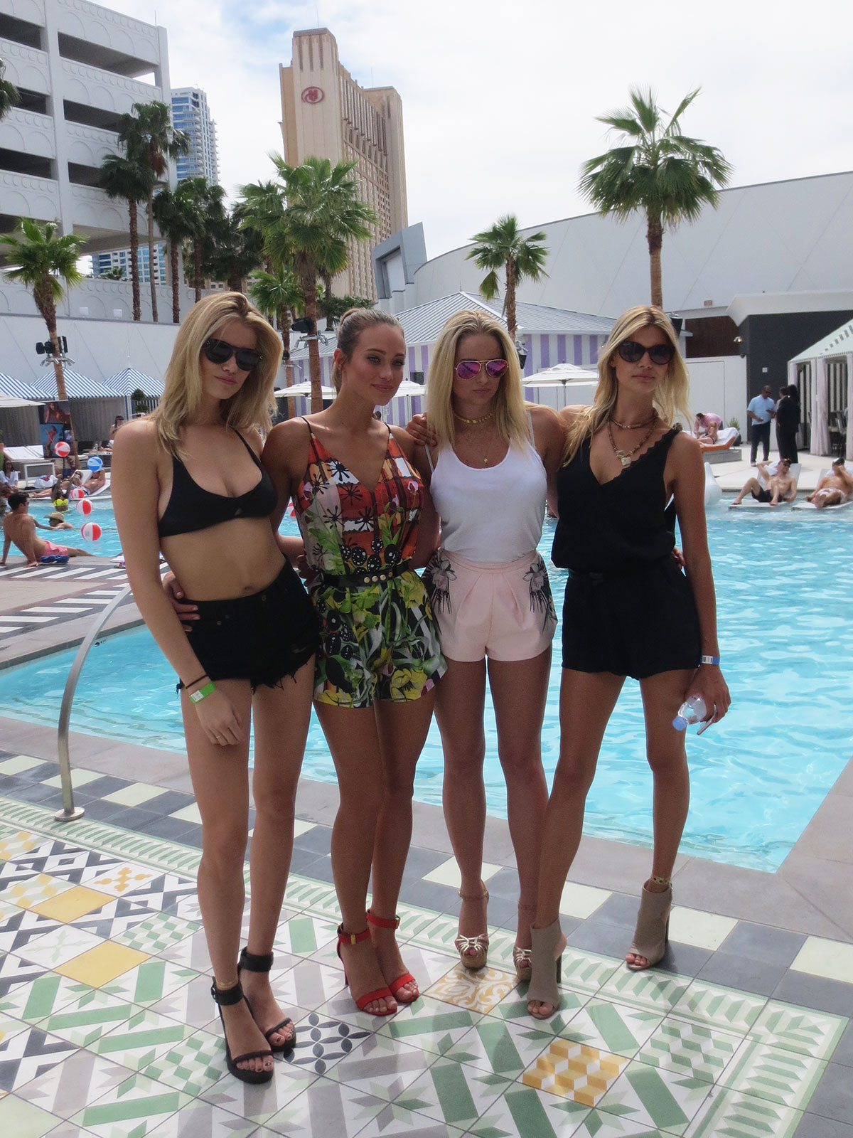 Hailey Clauson, Hannah Davis, Genevieve Morton and Kelly Rohrbach attend the Official Sports Illustrated Fight Weekend Party at the SLS Las Vegas Hotel & Casino.
