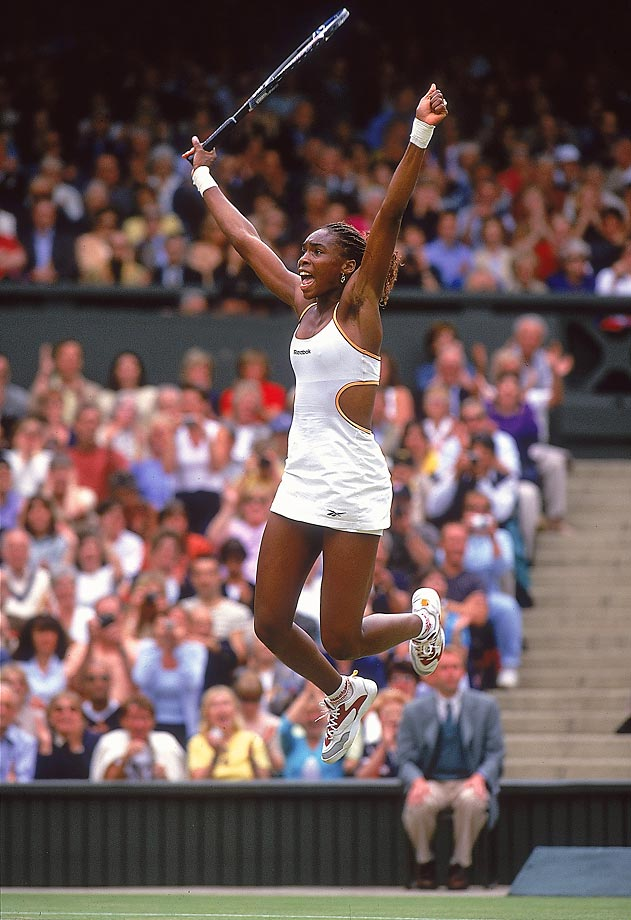 Williams celebrates winning the Wimbledon women's singles title. She beat Lindsay Davenport 6-3, 7-6 (3) for the first Grand Slam title of her career. She has had most of her success at Wimbledon, where she has won five titles, including back-to-back titles in 2000 and 2001 as well as in 2007 and 2008.
