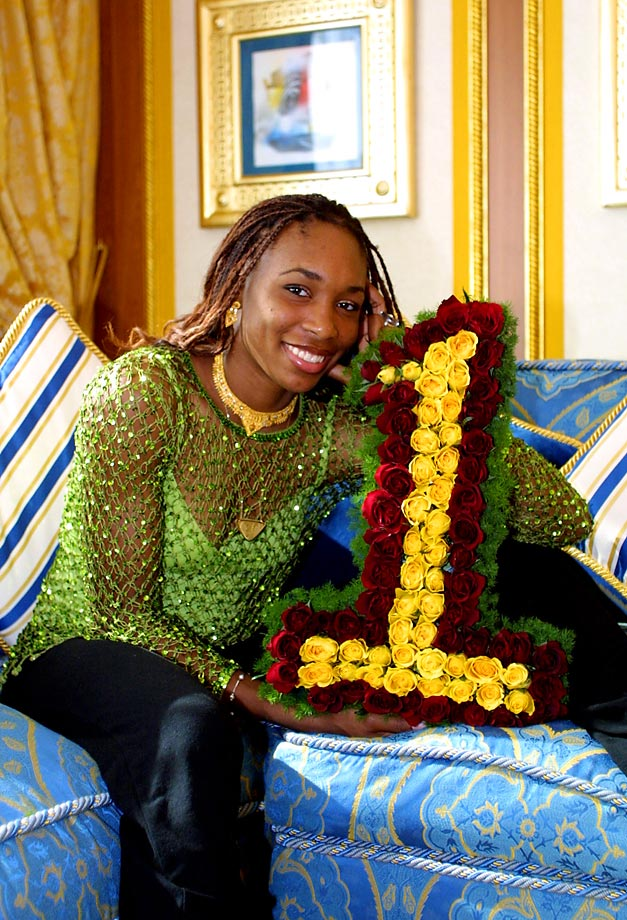 Williams celebrates becoming the women's singles World No. 1 in February. Throughout her career, Williams has only spent 11 weeks as the top-ranked player.
