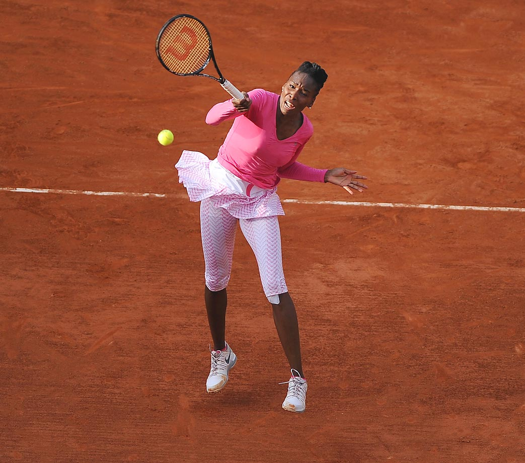 Williams plays a very attacking game, complemented by an absolute devastating serve—she holds the fastest serve at the French Open, Wimbledon and the U.S. Open. She is primarily a baseline player but can show off her volleying skills and great court coverage.