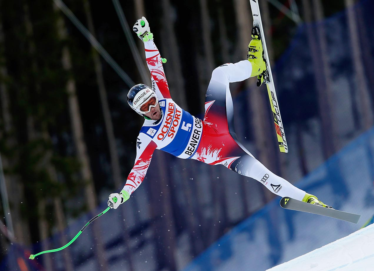 Vincent Kriechmayr of Austria loses control during the Audi FIS World Cup Men's Super G Race on the Birds of Prey course in Beaver Creek.