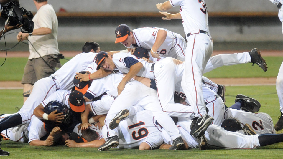 The Virginia Cavaliers celebrate advancing to the College World Series finals by beating the Maryland Terrapins.