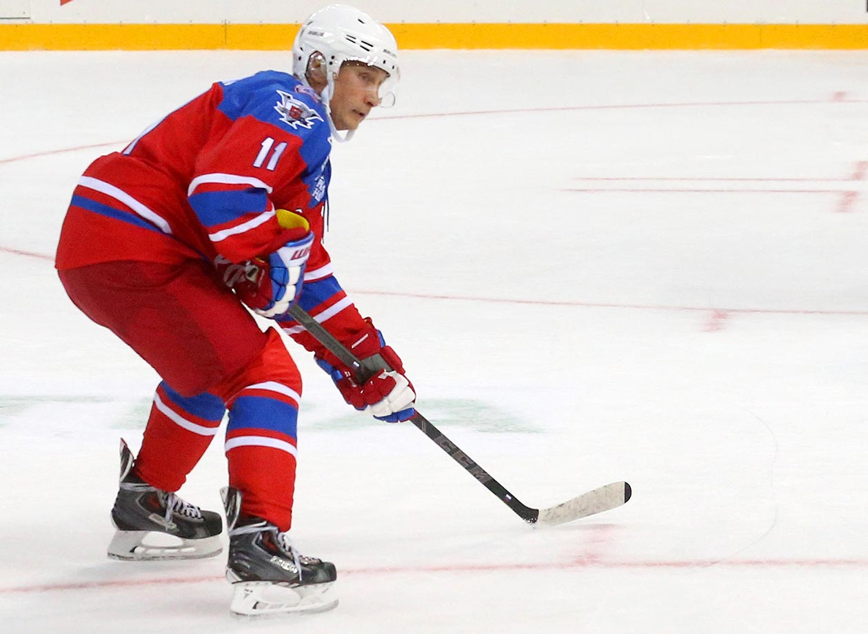 Russian President Vladimir Putin attends a Night Hockey League ice hockey match in Sochi. Putin spent his 63rd birthday playing hockey with NHL stars.