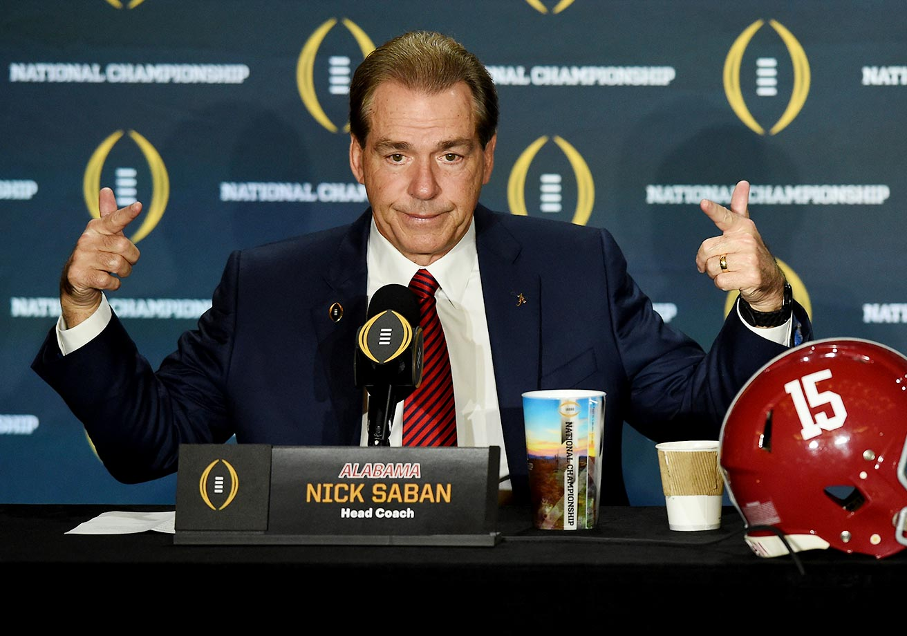 Nick Saban a day before the big game at coaches press conference.