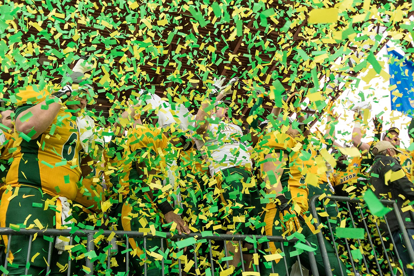 The North Dakota State Bisons celebrate their win against Jacksonville State.
