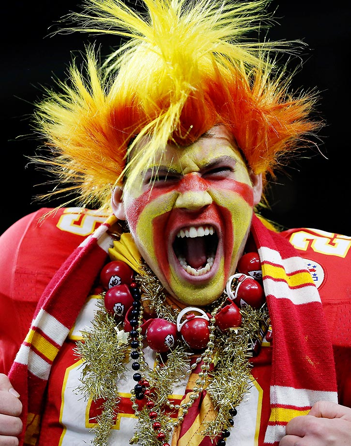 A fan of the Kansas City Chiefs during the AFC Wild Card playoffs.
