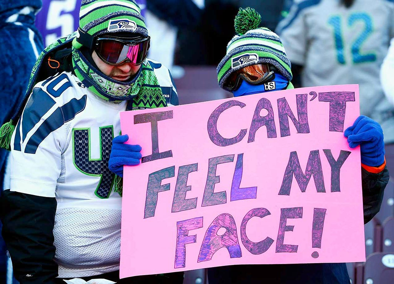 Fans at the Minnesota Vikings-Seattle Seahawks playoff game on Jan. 10, when temperatures were at minus 6 degrees at kickoff, making it one of the coldest games in NFL history.