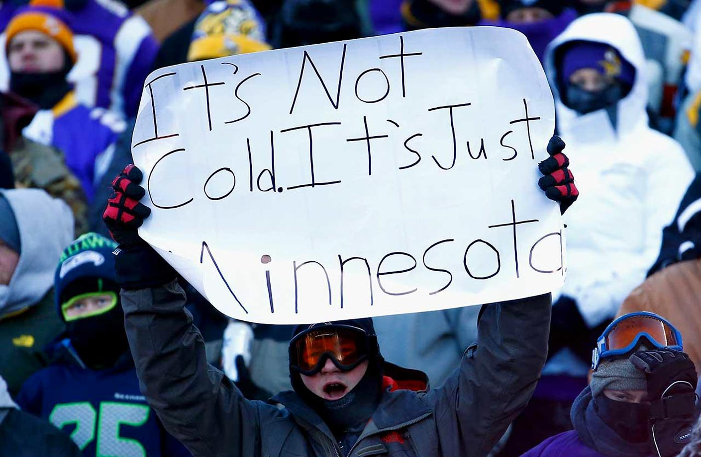 Fans at the Minnesota Vikings-Seattle Seahawks wild-card playoff game on Jan. 10, when temperatures were at minus 6 degrees at kickoff, making it one of the coldest games in NFL history.