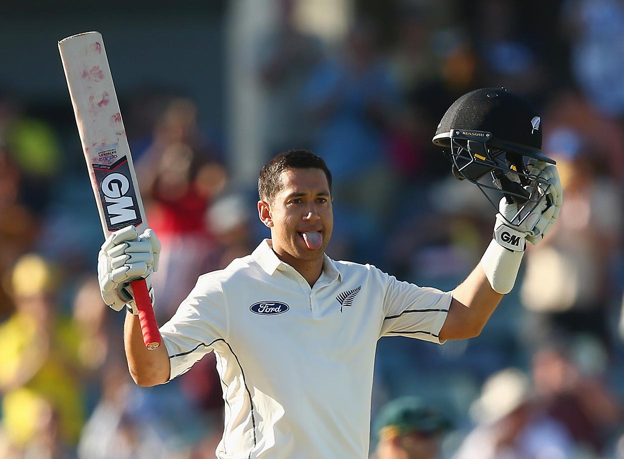 Ross Taylor of New Zealand celebrates after reaching his double century during day three of the second Test match against Australia.