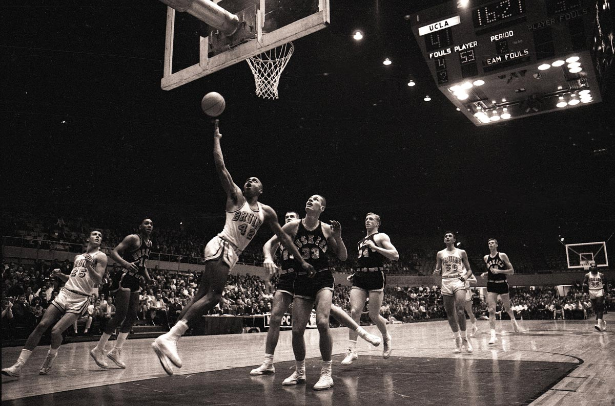 Coming out of the same high school as Wilt Chamberlain, Hazzard faced some high expectations. He managed to live up to them. After spending his freshman year at Santa Monica College, Hazzard transferred to UCLA, eventually winning the Helms Foundation College Player of the Year as he helped UCLA capture the 1964 national championship. An excellent ball-handler, Hazzard ran John Wooden's offense, dishing out eight assists in the Bruins' 98-83 victory over Duke in the championship game. In Hazzard's other two years in Westwood, UCLA reached the Final Four and the Sweet 16.