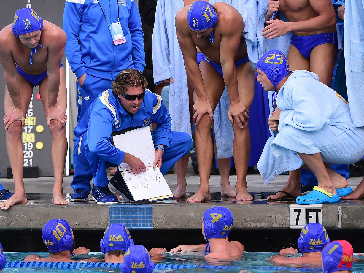 UCLA head coach Adam Wright gives instructions to his Bruins.