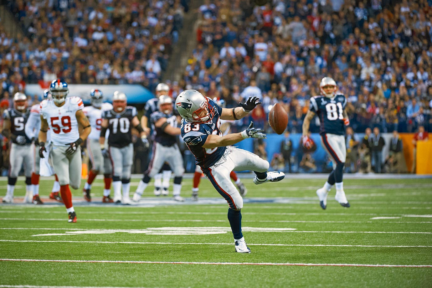 On second-and-11 with four minutes remaining in the fourth quarter of Super Bowl XLVI, Patriots wide receiver Wes Welker found some space on a go route but couldn't haul in the pass from Tom Brady. Although Brady's throw was high and to Welker's outside shoulder, the pass hit Welker in the hands, leading to a debate weeks after the game over who was more at fault, Brady or Welker. The New York Giants took advantage of the miscue to come back and defeat the Patriots 21-17.