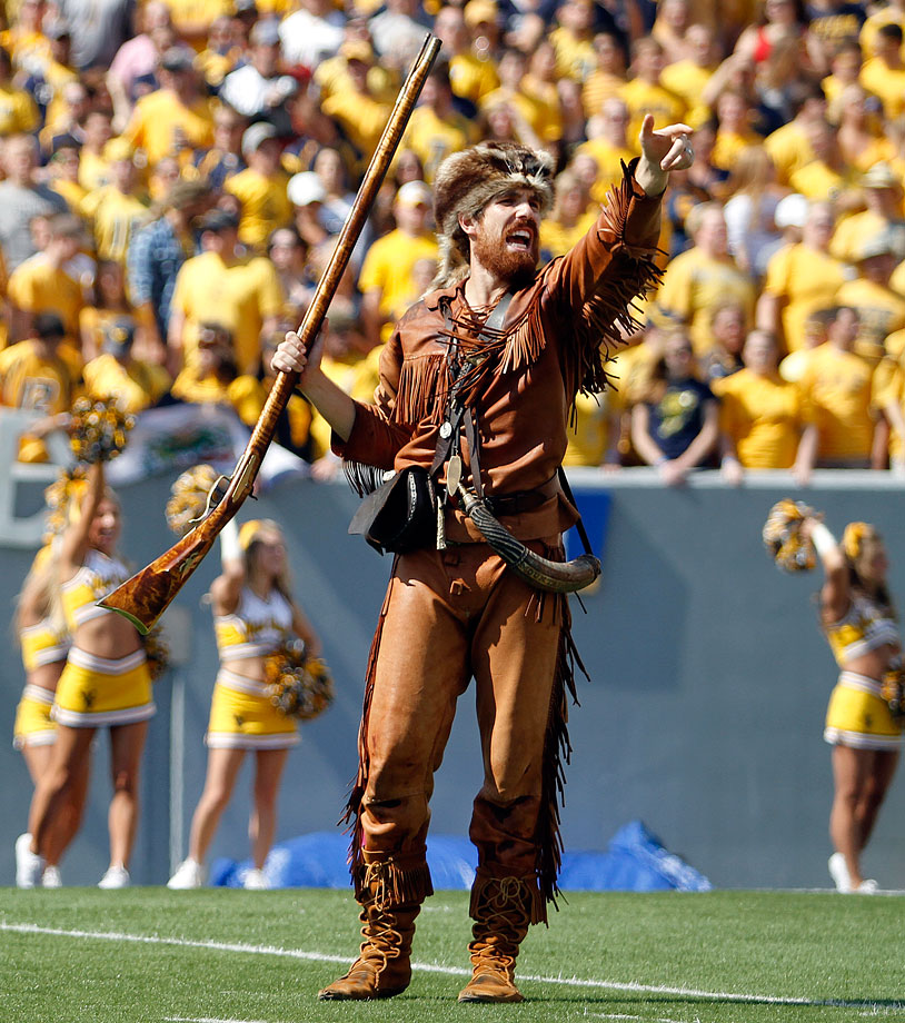 #10: West Virginia's The Mountaineer — Angry, excitable and sunburnt. The Mountaineer sums up WVU perfectly.