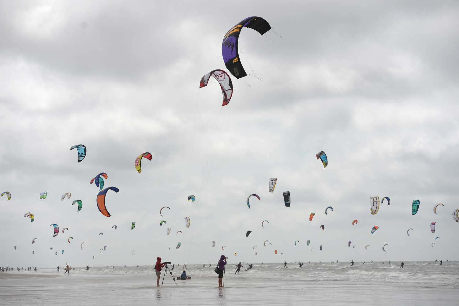 Contestants training for the Kite Surf World Cup in St Peter-Ording, Germany.