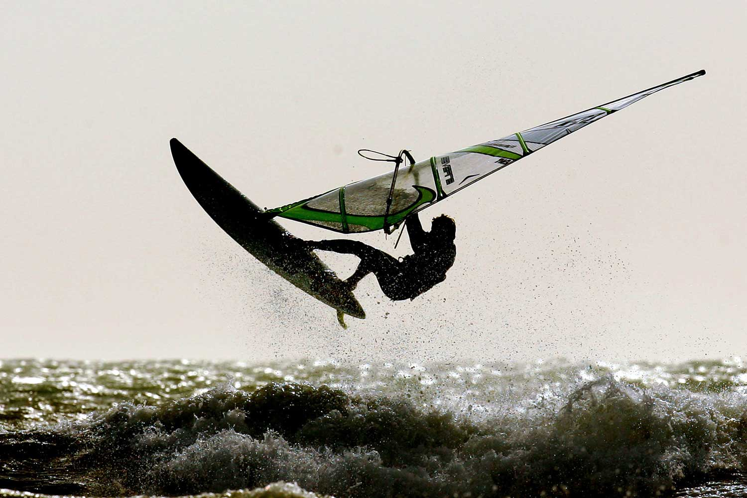 A competitor flies off a wave at the UK Finals Championships at the White Air Extreme Sports Festival in Sandown, Isle of Wright, England.