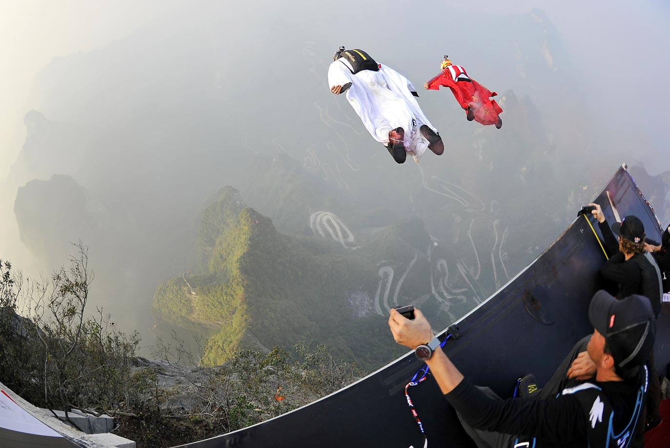 The Wingsuit Flying World Championship in Zhangjiajie, Hunan province of China.