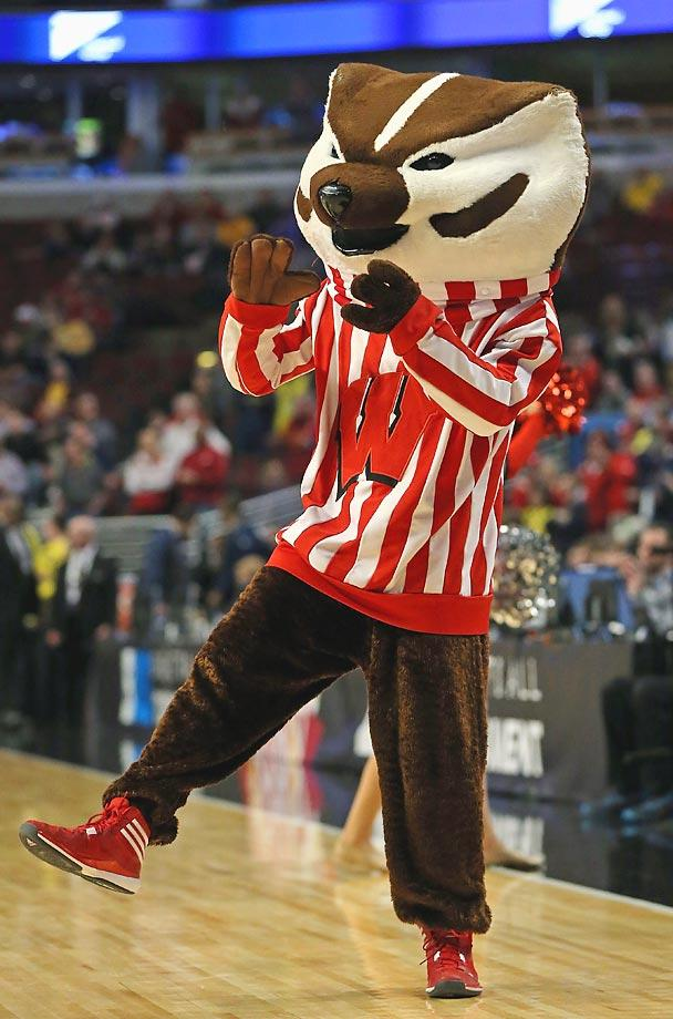 No. 7: Bucky Badger is a classic among the mascot ranks. His look, from his head to his red-and-white striped shirt, are unique. He's known for doing pushups, indicating an unspoken physical toughness, and he has been featured on the biggest stage thanks to Wisconsin's recent success. (Text credit: Andrew Wittrey/SI.com)