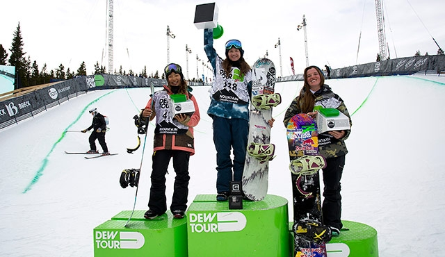 The final podium for the women's halfpipe.