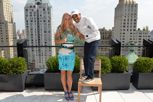 Caroline Wozniacki and Boston Marathon winner Meb Keflezhigi