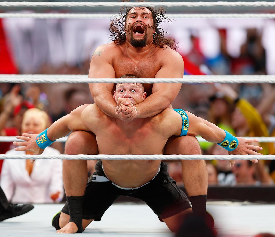 Rusev and John Cena at WrestleMania 31.