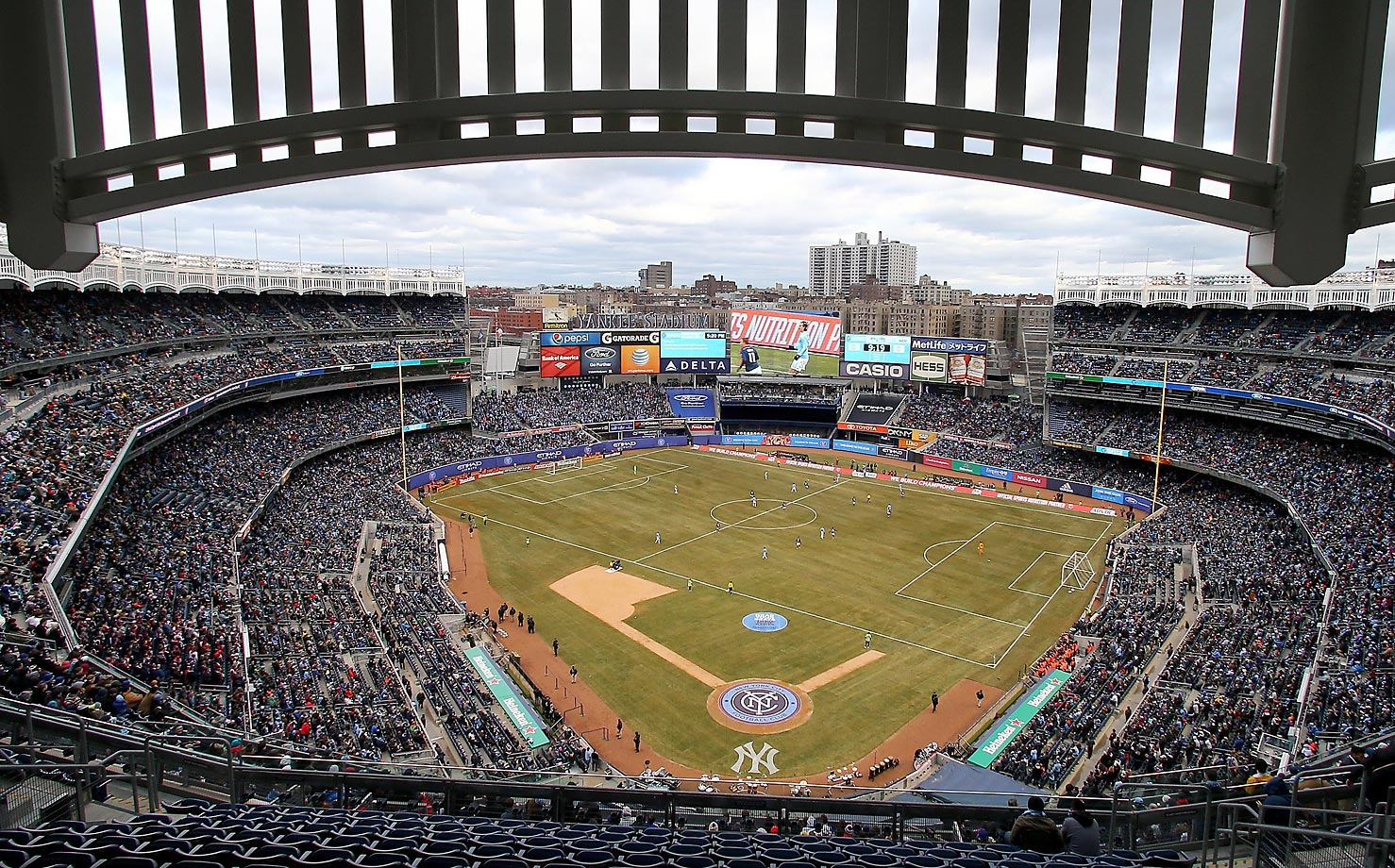 New York City FC takes on the New England Revolution during the club's inaugural game at Yankee Stadium on March 15, 2015.