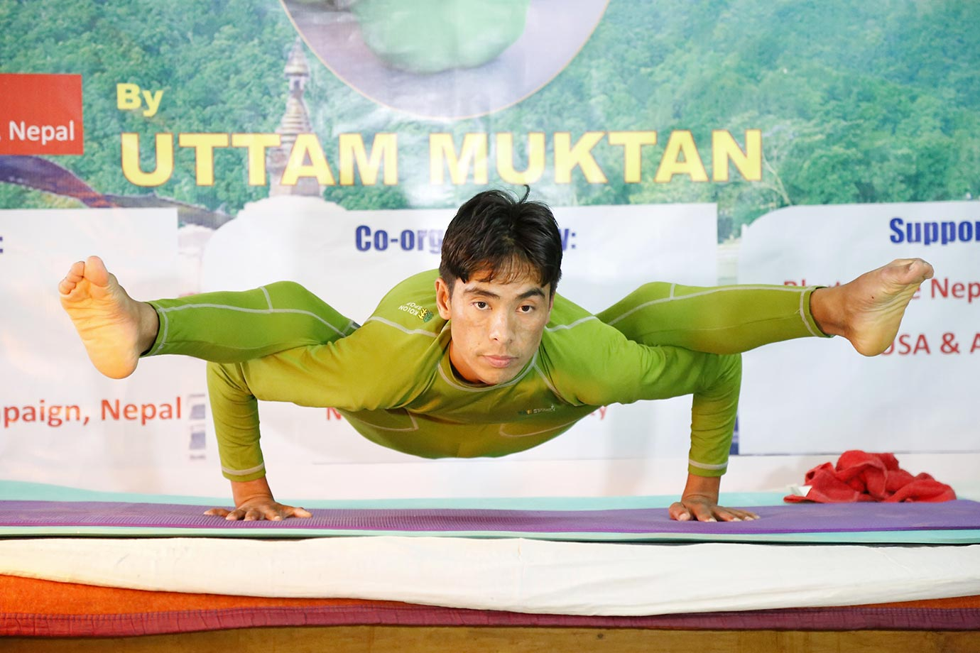 Nepalese Uttam Moktan performs yoga to challenge the Guinness World Record of the longest yoga marathon. He performed various yoga positions for 50 hours and 15 minutes to break the previous record of 40 hours, 15 minutes held by Indian yoga teacher Yogaraj C.P.