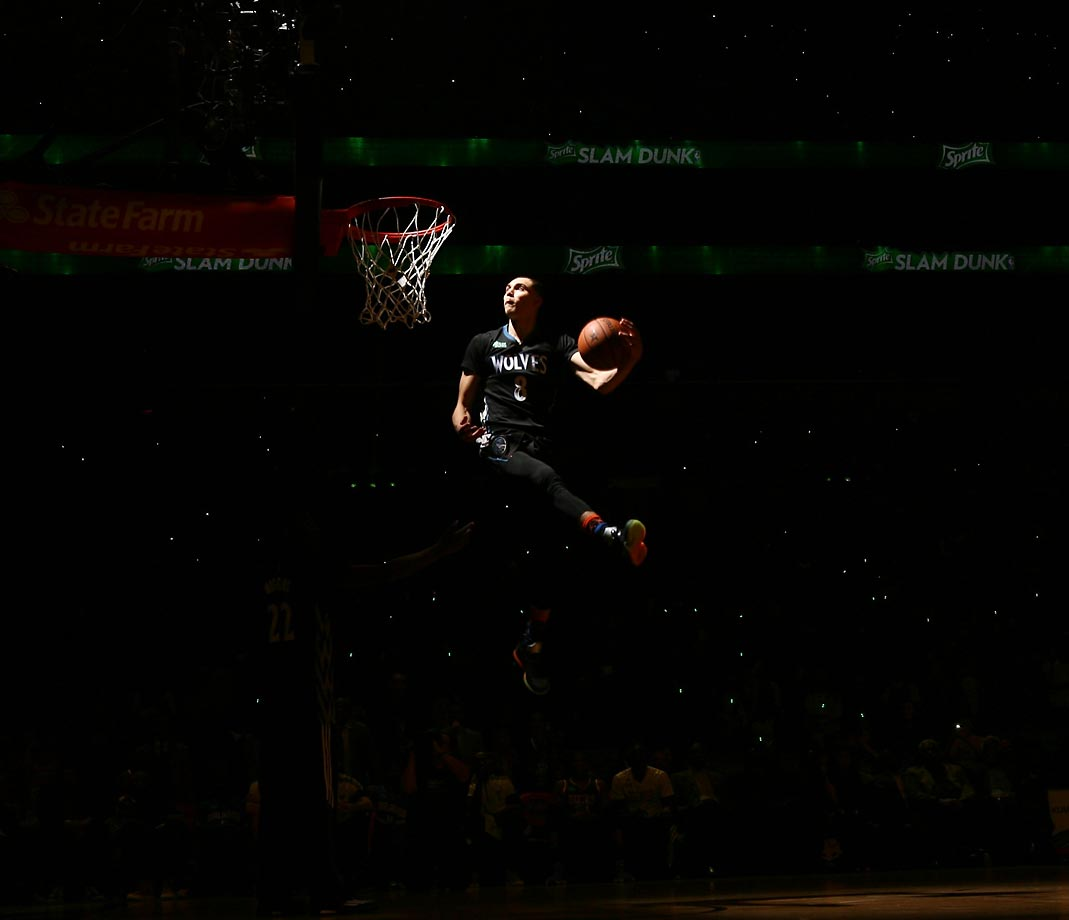 Zach LaVine of the Minnesota Timberwolves dunks during the Sprite Slam Dunk Contest on State Farm All-Star Saturday Night as part of the 2015 NBA All-Star Weekend.