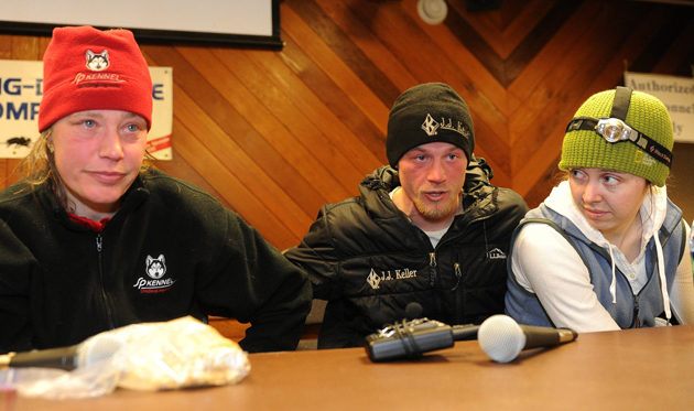 Zirkle, Seavey and his wife Jen Seavey sit at the Nome race headquarters at the end of the 2014 Iditarod.